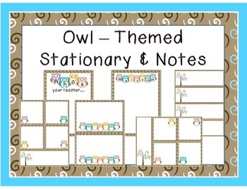 Owl Themed Stationary