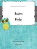 Owl Themed Student Binder Bundle w/ Data Sheets