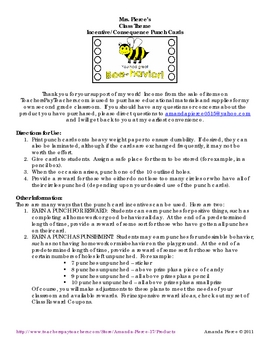 Owl Themed Student Incentive Punch Cards