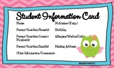 Owl Themed Student Info Cards 3 x 5 Size