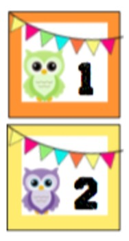 Owl Themed Student Number Cards