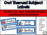 Owl Themed Subject Labels/Essential Questions Subject Labels (Editable)