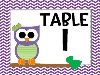 Owl Themed Table Number Signs
