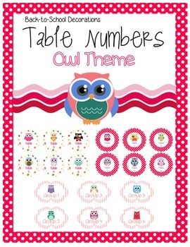 Owl Themed Table Numbers
