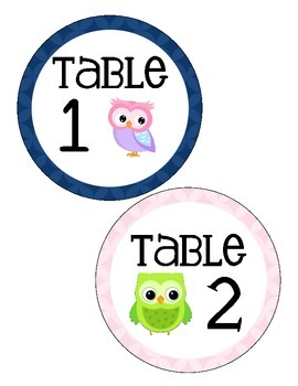 Owl Themed Table Numbers (only)