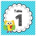 Owl Themed Table Tags