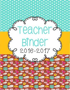 Owl Themed Teacher Binder