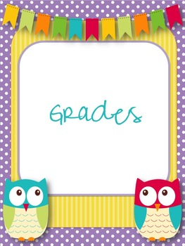 Owl Themed Teacher Binder Cover and Section Headings