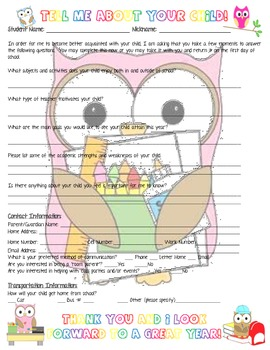 """Owl Themed """"Tell Me About Your Child"""" Form for Back-to-Sch"""