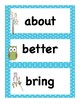 Back to School Owl Themed Third Grade Dolch Vocabulary Sight Words