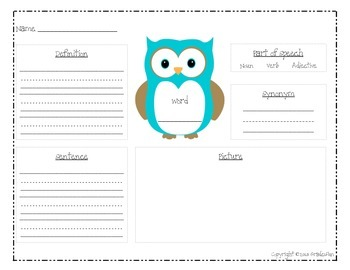 Owl Themed Vocabulary Practice Pages