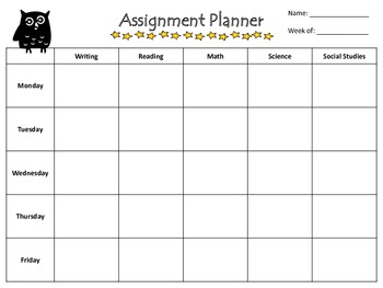 Owl Themed Weekly Assignment Printable