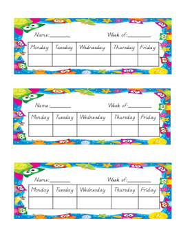 Owl Themed Weekly Behavior/Incentive Chart