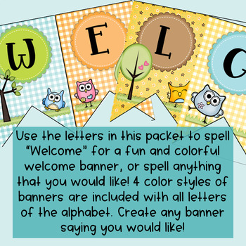 Owl Themed Welcome Banner (Includes Entire Alphabet)