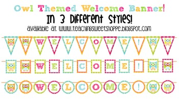 Owl Themed Welcome Banners in 3 Styles!