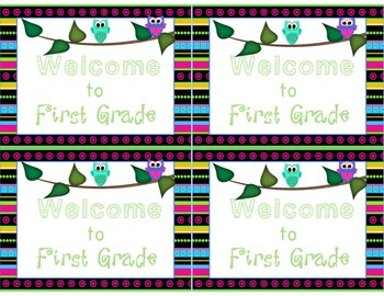 Owl Themed Welcome to Kindergarten-Sixth Grade Less Ink Version