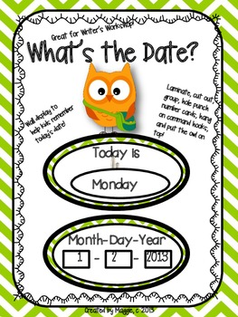 """Owl Themed """"What's the Date?"""" Wall Display for Writer's Workshop"""