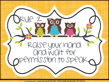 Owl Themed Whole Brain Teaching Classroom Rules