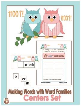 Owl Themed Word Family Center -Short/Long A