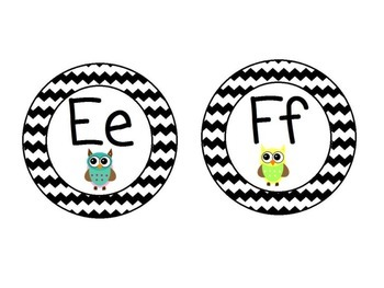 Owl Themed Word Wall Alphabet with Black Chevron: