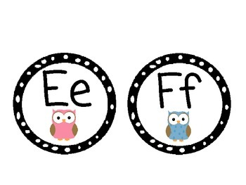 Owl Themed Word Wall Alphabet with Black and White Polka Dots: