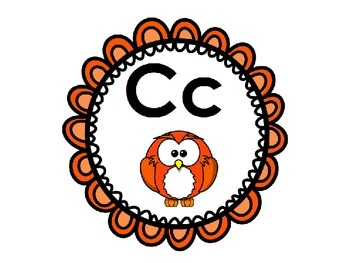 Owl Themed Word Wall Alphabet with Bright Lace Circle Frames: