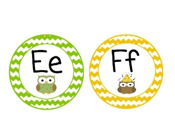 Owl Themed Word Wall Alphabet with Chevron Patterns: