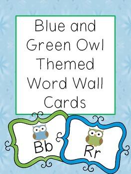 Owl Themed Word Wall Alphabet Cards