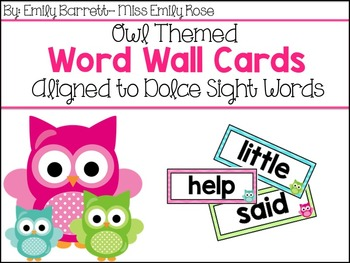 Owl Themed Word Wall Cards