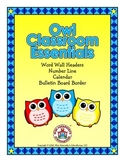 Owl Classroom Essentials: Word Wall Headers, Number Line,