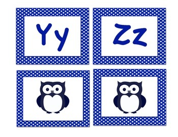 Owl-Themed Word Wall Letters (Navy Blue Polka Dot)