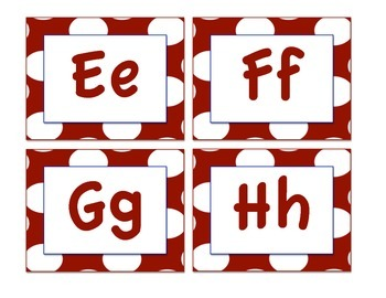 Owl-Themed Word Wall Letters (Red Polka Dot)