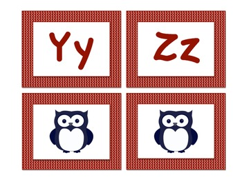 Owl-Themed Word Wall Letters (Red)