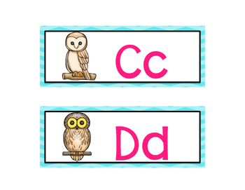 Owl-Themed Word Wall Letters (Turquoise Chevron)