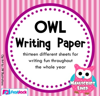 Owl Themed Writing Paper - Manuscript Lined