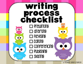 Owl Themed Writing Process Posters