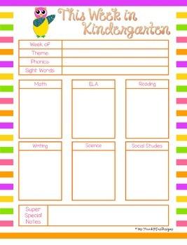 Owl This Week in Kindergarten (Editable)