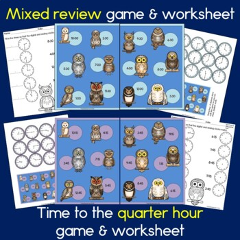 Owl Time - Telling time to the half hour and quarter hour, first grade math