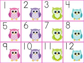 Owl Time Calendar Set (purple, pink, blue colors)