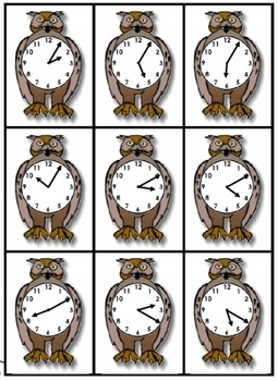 Owl Time:  telling time card set