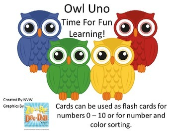 Owl Uno and/or Color and Number Sorting Cards