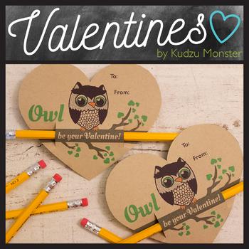 Owl  Valentine Pencil Hugger