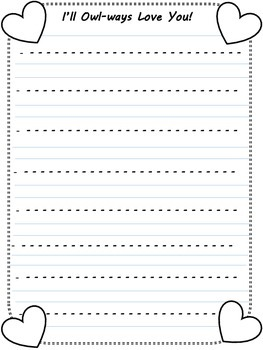 Owl Valentine Writing Printable