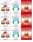 Owl Valentine's Cards - Editable