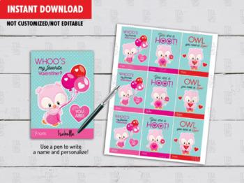 Owl Valentine's Day Card DIY Printable, Hoot Kids School Gift Exchange Tag Ideas