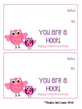 Owl Valentine's Day Treat Bag Toppers