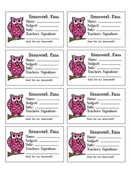 Owl Valentine's Homework Passes