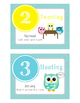 Owl Voice/Noise Levels - Turquoise & White Polka Dot Posters