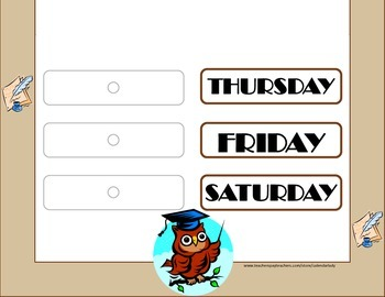 Owl Weekday Chart! Owl Bulletin Board! Owl Theme! Owl Days of the Week!