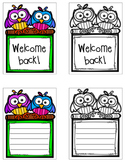 """Owl """"Welcome Back"""" Signs & Writing Paper"""